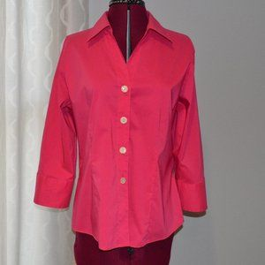 Foxcroft Pink Fitted Stretch Blouse 10 3/4 Sleeves